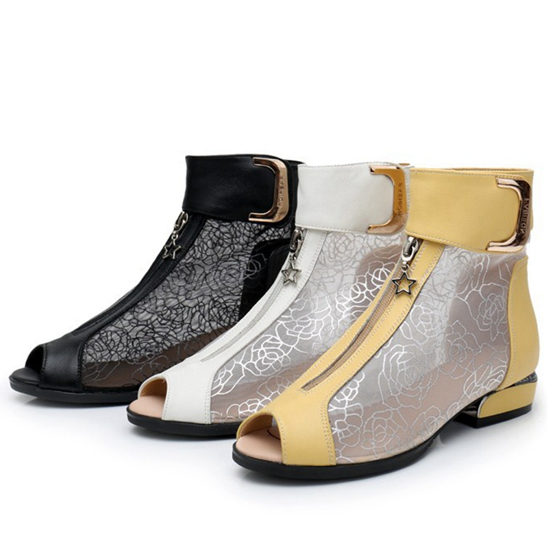 ASILETO cut out white Summer elegant ankle boots women mesh floral hollow peep toe ladies shoes flat boots zipper metal short-in Ankle Boots from Shoes    2