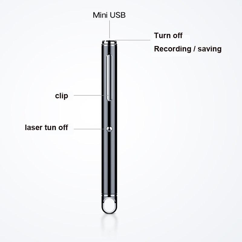 Enregistrement professionnel de forme de stylo MP3 enregistreur activé par la voix avec laser pour la réunion