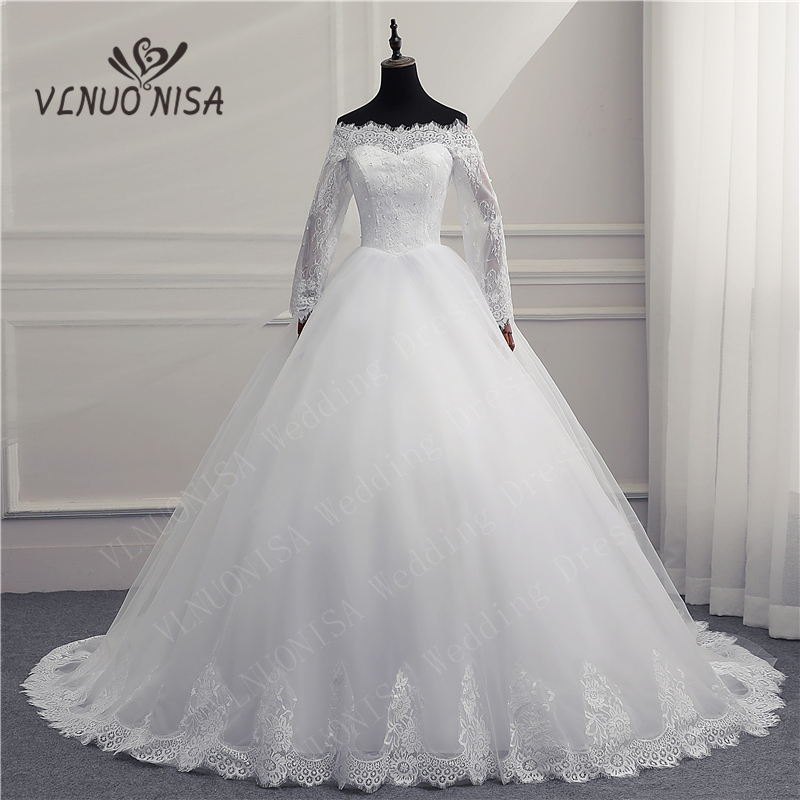 Elegant White Lace Wedding Dress VLNUO NISA Boat Neck Ball Gown Luxury Vestido De Noiva Simple Bride Dress Robe De Mariee 20