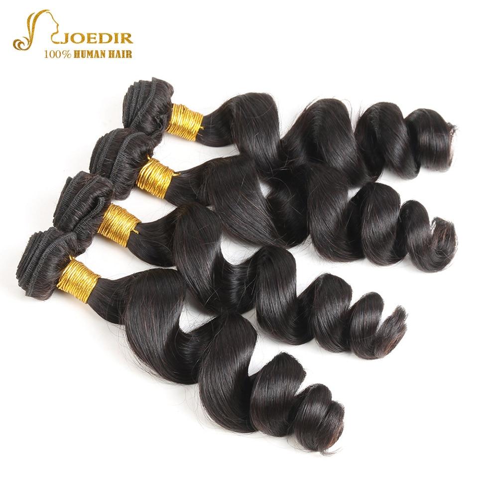 Joedir Indian Human Hair Loose Wave Hair Bundles Natural Black Color Non Remy Hair Extension 4 Bundle Deal Wavy Weaves Free Ship