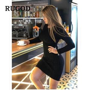Image 4 - Rugod 2020 novo vestido de camisola magro moda sexy túnica de malha vestido feminino auturm inverno quente lápis vestidos femininos