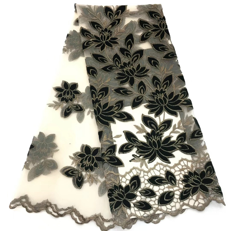 African Lace Fabric 2019 High Quality African Tulle Lace Fabric With Velvet French Net Lace For Women Dress African Lace Fabric 2019 High Quality African Tulle Lace Fabric With Velvet French Net Lace For Women Dress