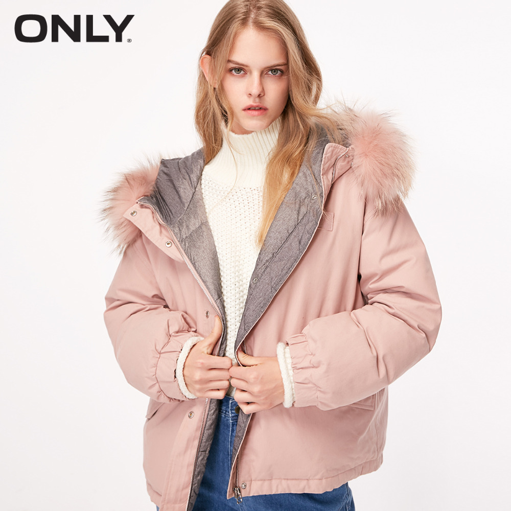 ONLY  Women's Loose Fit Big Fur Collar Short Duck Down Jacket |118323520