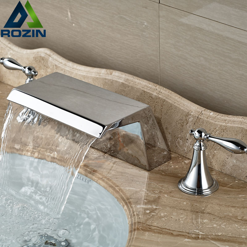 ФОТО Dual Handle Bathroom Waterfall Basin Faucet Deck Mount Widespread Mixer Tap Chrome Finish