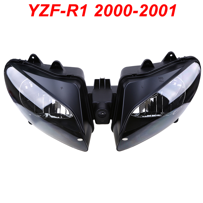 For 00-01 Yamaha YZFR1 YZF R1 YZF-R1 Motorcycle Front Headlight Head Light Lamp Headlamp Assembly CLEAR 2000 2001