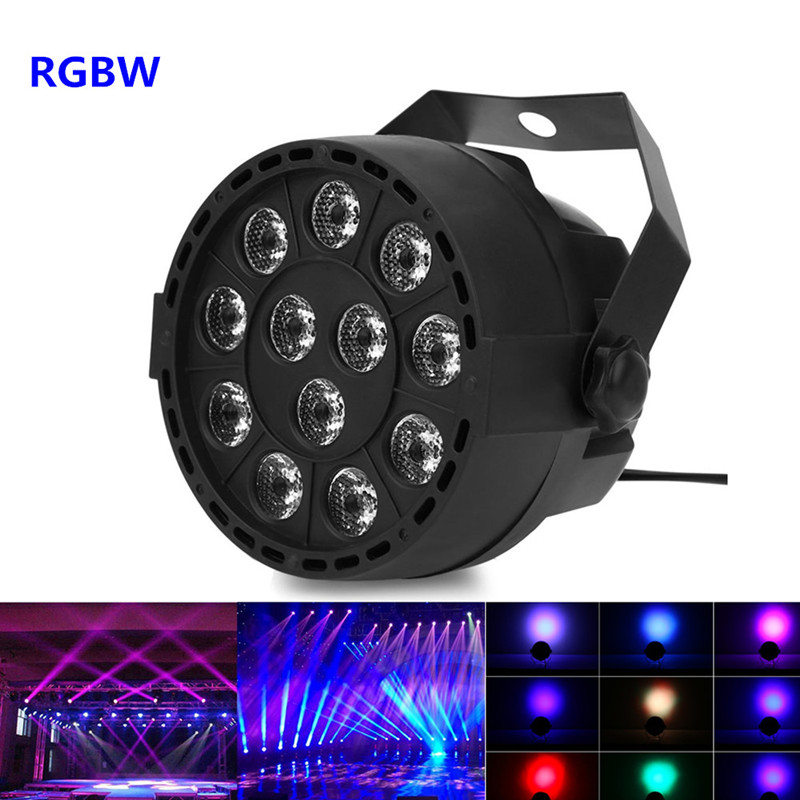 Dj Disco Projector <font><b>LED</b></font> Flat Portable Mini AC 90 - 240V 12W Stage <font><b>Par</b></font> Lights 8CH <font><b>12</b></font> <font><b>LEDs</b></font> <font><b>RGB</b></font> Color Mixing Stage Lighting Effect image