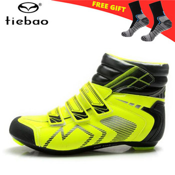 TIEBAO Professional Winter Road Bike Shoes Waterproof Cycling Shoes Auto Lock Shoes Non-slip Bicycle Boots Zapatos de ciclismo