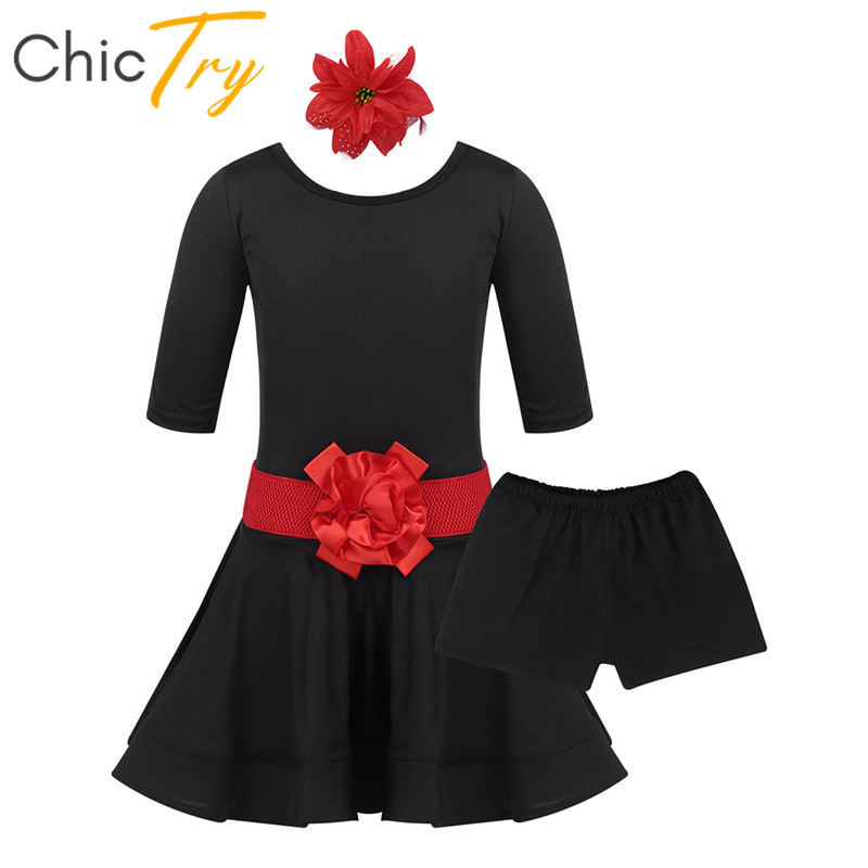 ChicTry Kids Short Sleeve Ballroom Latin Dance Dress Shorts Hairclip Belt Set Dancewear Children Girls Rumba Samba Dance Costume
