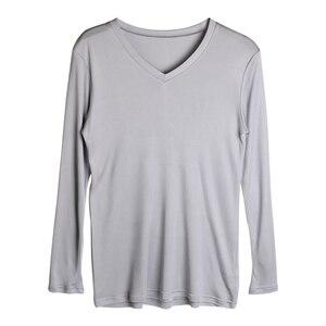 Image 5 - 男性の基本的な tシャツ 100% 天然シルク V ネックソリッドシャツ長袖トップメンズシルクトップ白黒グレー 2018 春夏新作
