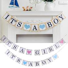 It's A Boy Girl Birthday Party Hanging Banners Confetti Baby Birthday Party Hanging Decor Celebrate Baby Birth(China)