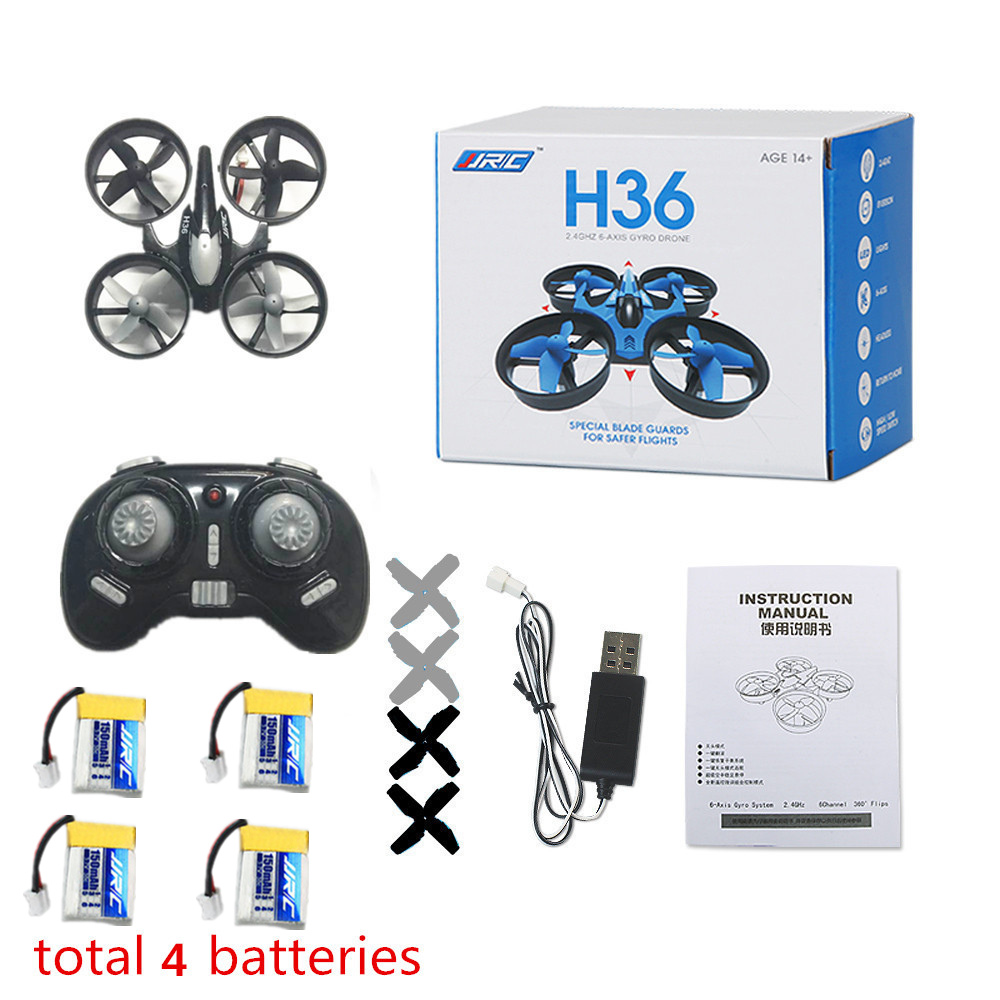 Mini Drone JJRC H36 4pcs Battery Headless Mode 6-Axis Gyro 2.4GHz RC Drones Remote Control Helicopter Quadcopter VS H20 H8 H37 jjrc h2 2 4g mini quadcopter remote control four axis drone toy