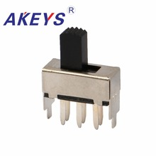 SS-22F12 2P2T Double pole double throw 2 position slide switch DIP 6 pin verticle type with 2 fixed pin handle heights can be cu 1pcs 75mm tapped slide faders double potentiometer switch b10k 10mm handle 4x4p