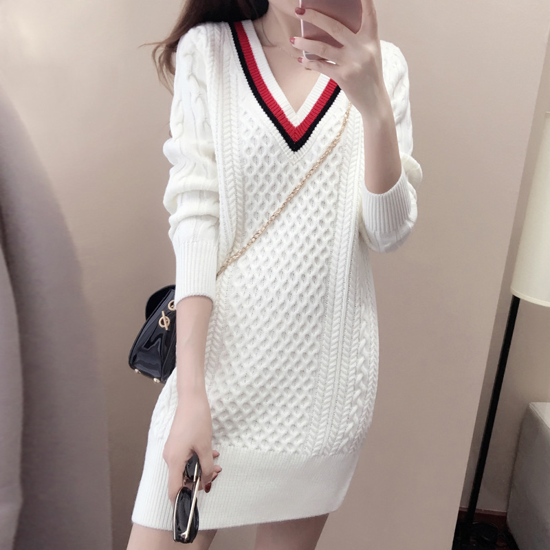 Autumn and winter new knit package hip bottoming dress women long section pullover hit V-neck long-sleeved