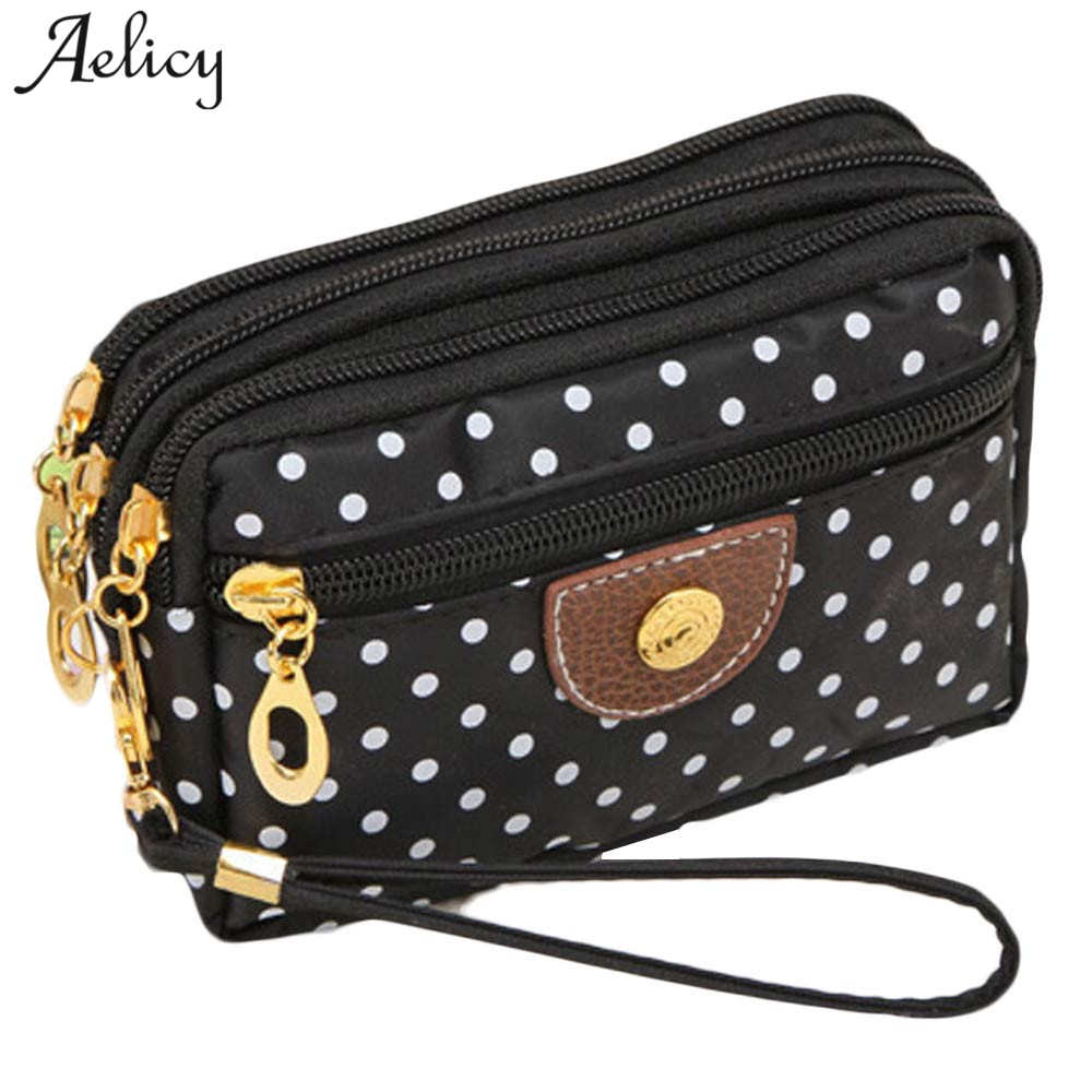 Aelicy New Coin Purse Women Small Wallet Washer Wrinkle Fabric Phone Purse Three Zipper Wallet Female Portable Make Up bag