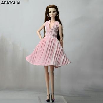 Różowa ładna sukienka dla barbie stroje lalek modne ubrania dla lalek Party Dress ubrania dla barbie Doll 1 6 akcesoria dla lalek zabawka dla dzieci tanie i dobre opinie Tkaniny doll dress for barbie doll Dziewczyny free Moda Sukienka w stylu western Apatsuki