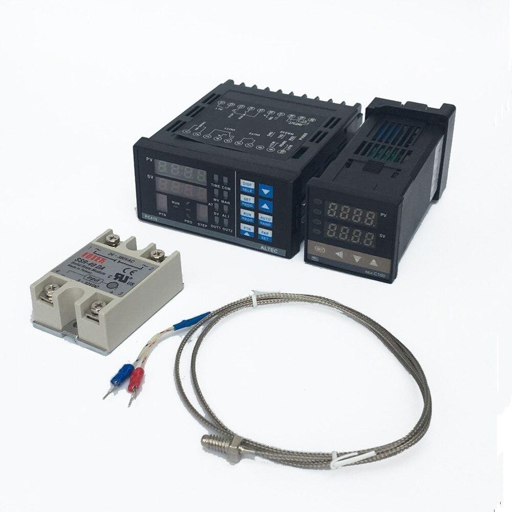 1 Kits Numérique Réglable PID Panneau du Contrôleur de Température Thermostat PC410 + REX-C100 + Max.40A SSR Relais + K Thermocouple Sonde