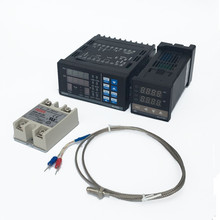 Kit de controlador Digital de temperatura PID ajustable, termostato de Panel PC410 + REX C100 + relé Max.40A SSR + Sonda de termopar K