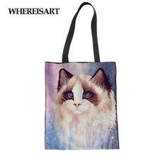 WHEREISART Cat Painting Lady Reusable Cotton grocery Shopping Bag Women Men Handbags Canvas Tote bags Webshop Eco Foldable чайный набор luminarc essence 220 мл 12 предметов