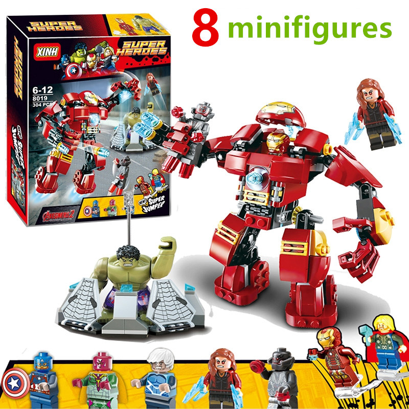 Marvel Super Heroes Avengers Wonda Iron Man MK Anti Hulkbuster Thor Vision Ultron Assemble Building Blocks minifig Kids Toys
