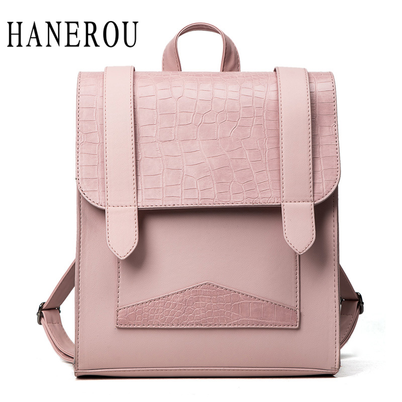 Fashion Stone Backpack Women New Belt School Bags For Teenagers Preppy Style Bags For Women 2018 Top PU Leather Backpack Hot Sac nawo fashion genuine leather backpack rivet women bags preppy style backpack girls school bags zipper large women s backpack sac