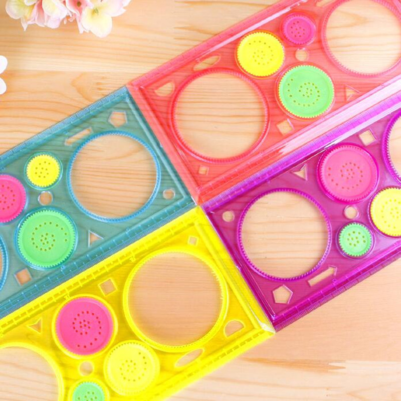 20packs/lot New Kids' Puzzle Colorful Drawing Ruler set drawing-tool Spirograph ruler students' zakka DIY tools Stationery