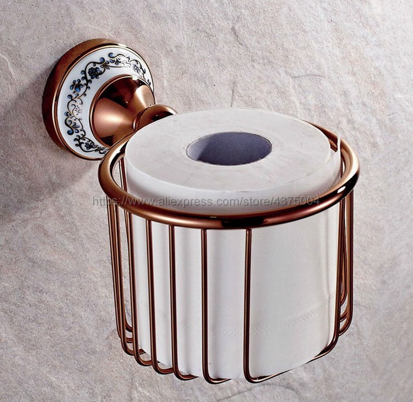 Rose Gold Brass Toilet Roll Holder Porcelain Base Paper Basket European Roll Paper Holder Bathroom Toilet Holder Nba389