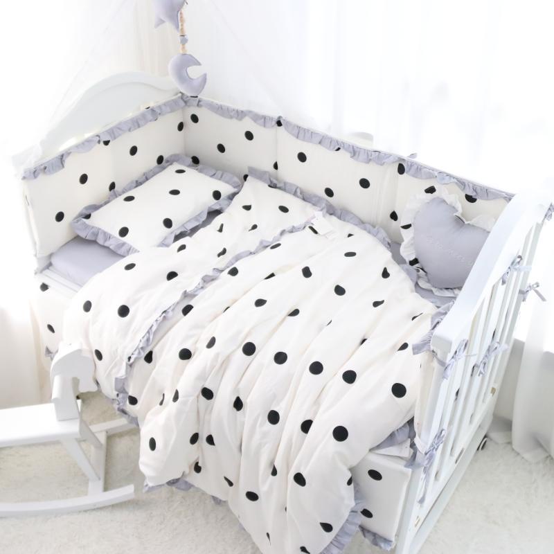 Cushi cots cot bumper girls black and white polka dot new