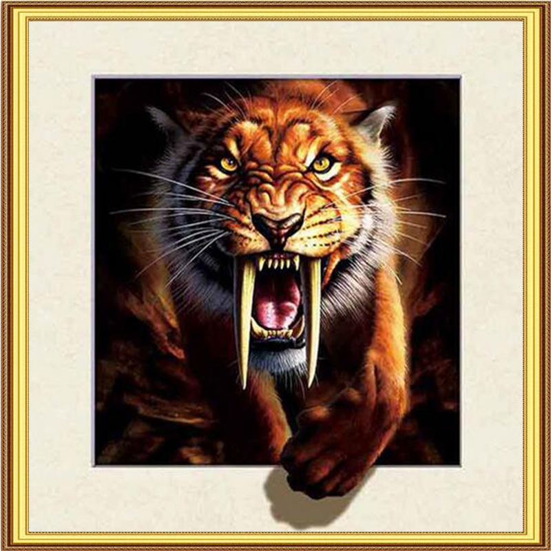 Animal Aggressive Tiger Pasted Diamond Painting Cross Stitch Kits Full Drill Ribbon DIY Embroidery Pattern Wall Sticker Crafts