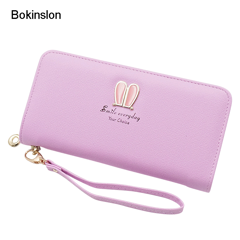 Bokinslon Woman Zipper Wallet Fashion PU Leather Women Long Section Wallets Small Fresh Printing Ladies Purse
