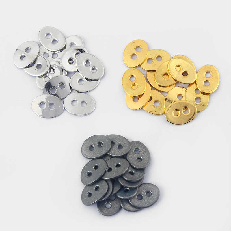 30pcs Gold Plate/Antique Silver/Black Oval Two Hole Beads Button For Wrap Bracelets Charm For 2mm Round Leather Necklace