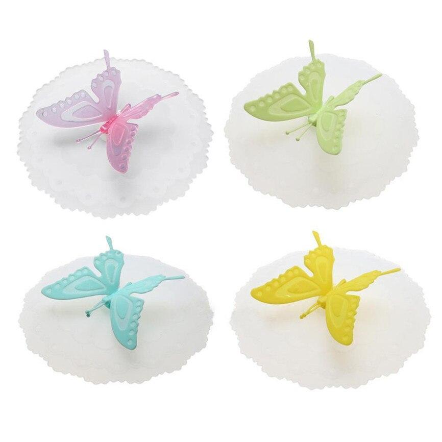 Новинка года качество красочными бабочками и бантиками; герметичная, силиконовая Кофе крышка всасывания Кепки герметичное уплотнение крышка для стакана из дропшиппинг 0935