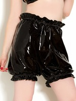 Latex Rubber Bloomers Women's SHort Latex Pants Sexy Black Latex Rubber Panties Rubber knickers