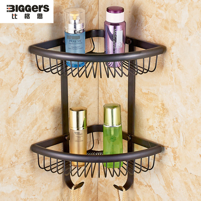 Free Shipping,Luxury Retro Black Bronze Finish Copper Material Bathroom  Corner Shelf Double Tier Shower