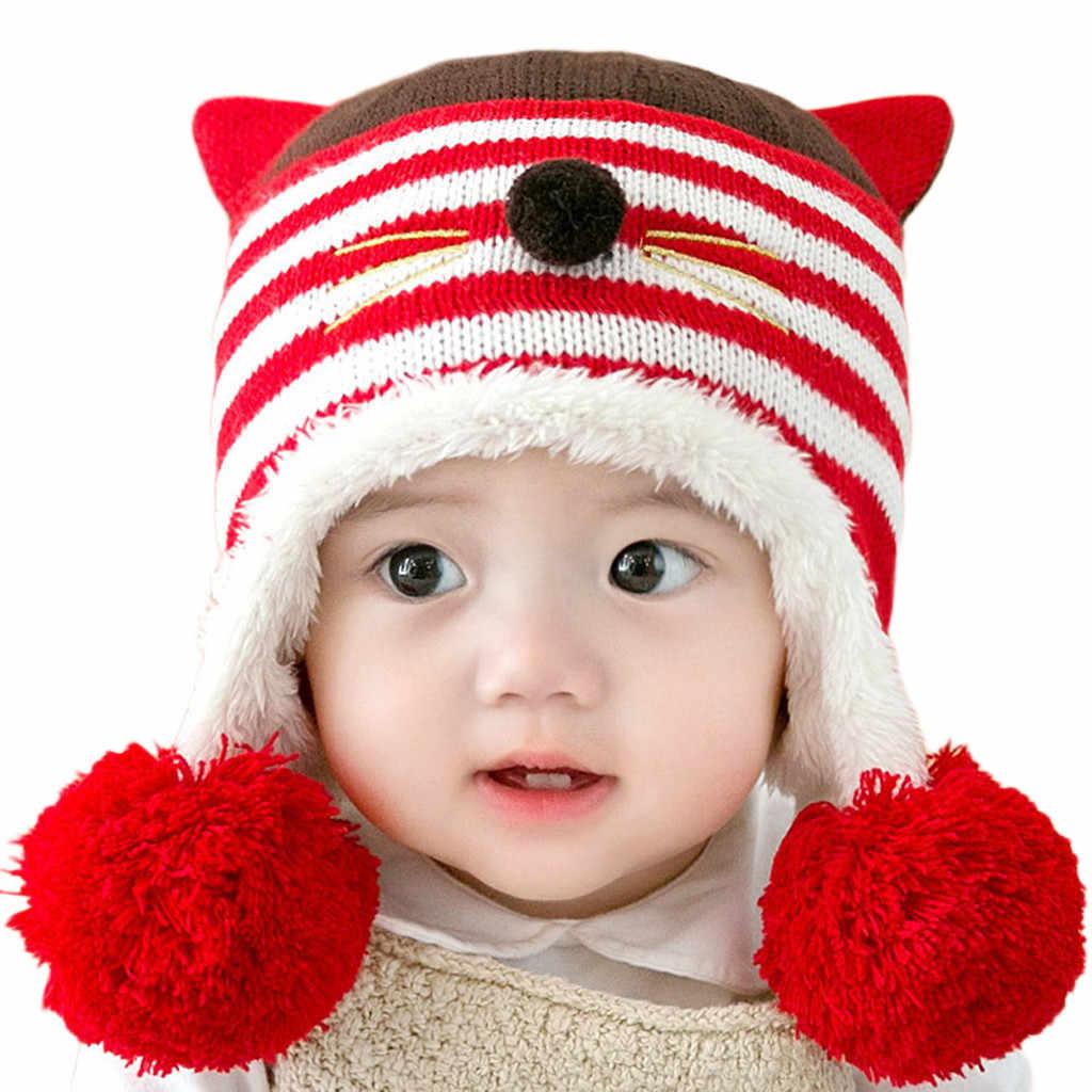 4ca549a73de Detail Feedback Questions about Newborn baby cute warm hat baby cat ears  wool hat big ball ball earmuffs Ear protector winter cap children s  accessories  YL ...