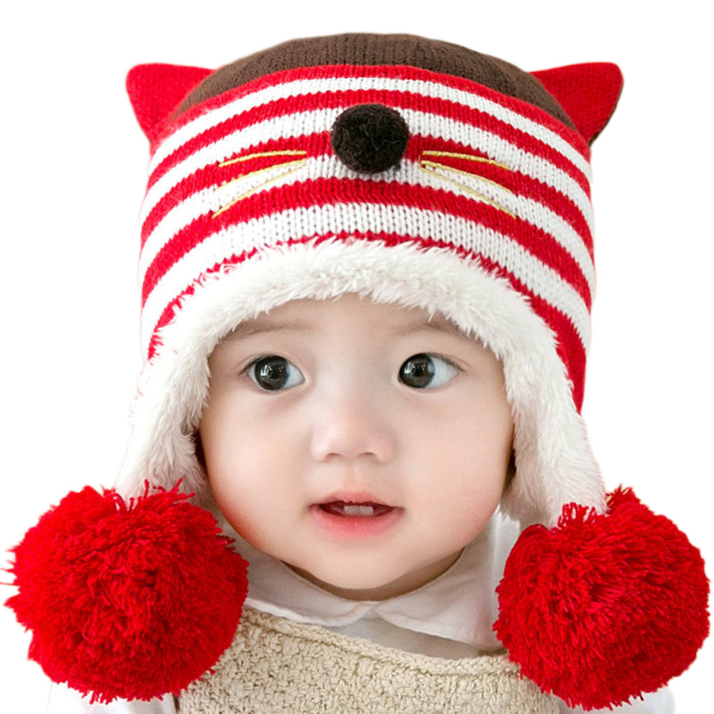 Infant Knitted Ski Caps Kids Headwrap Ear Warmer Winter Warm Hooded Scarf Toddler Baby Boys Girls Solid Big Clearance Sale Boys' Baby Clothing Mother & Kids