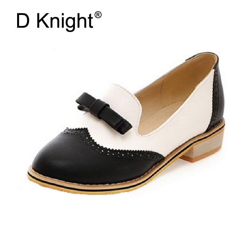 Loafers Woman Bowtie Oxfords For Women Slip-on Mixed Colors Flats With Artificial Leather Casual Shoes Round Toe Brogue Shoes sweet women high quality bowtie pointed toe flock flat shoes women casual summer ladies slip on casual zapatos mujer bt123