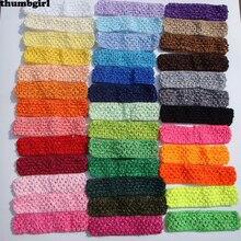 """50 шт./партия, 1,"""" топ для новорожденных девочек, пачка, вязаная повязка на голову, аксессуары для волос материал 38 цветов"""