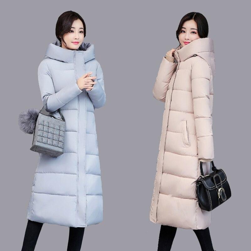 2018 women winter jacket coat down   parka   coat plus size Long warm Loose hooded coat loose snow wear Cotton-padded jacket