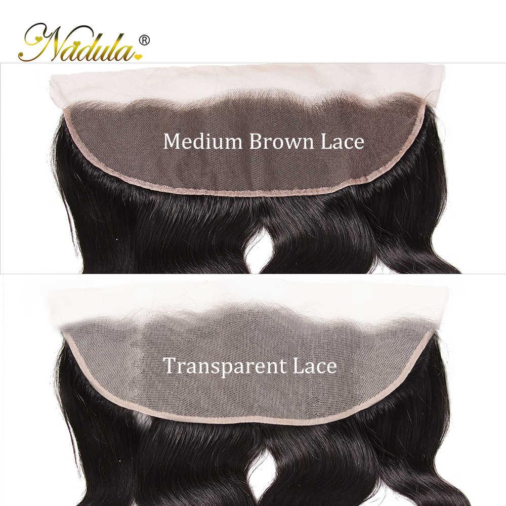 NADULA HAIR 13*4 mechones de ondas de cuerpo marrón medio/Frontal brasileño Remy con mechones