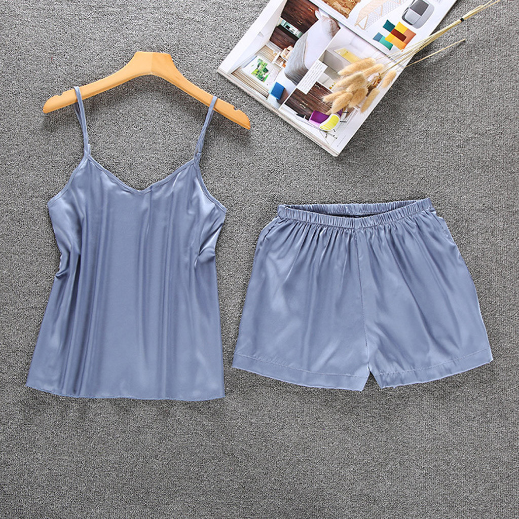 Satin Sleep Sets Women Pajamas Girl Sleepwear Pyjamas Sets Summer Silk Casual Homewear Sling Nightwear Shorts Solid Lingerie