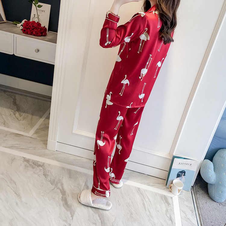 2019 חדש נשים חולצה מכנסיים פיג 'מה חליפת לילה חלוק הלבשת סטים מקרית אביב סתיו שינה Nightwear אמבט שמלת M L XL XXL