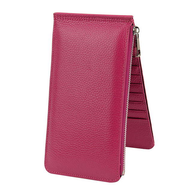 Zipper And Hasp Design Ladies Card Holder Real Leather Women Wallets Long Large Capacity Bifold Cow Leather Purse