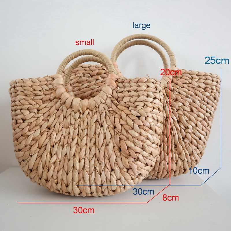 Diinovivo novo verão bolsa feminina saco de palha saco de milho pele semicircular arte praia moda tote bags para as mulheres 2019 whdv0651
