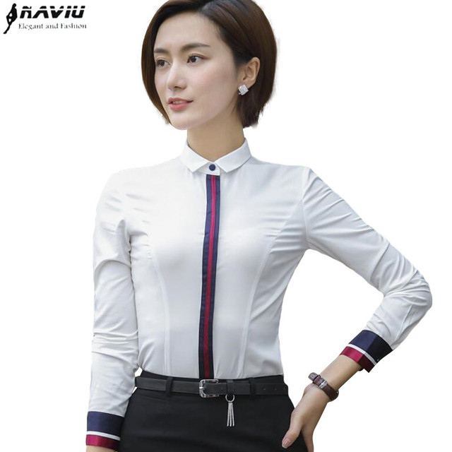 ce47db6814cf8 New Fashion clothes OL Business women long sleeve shirt white slim  Patchwork chiffon blouse office ladies plus size formal tops