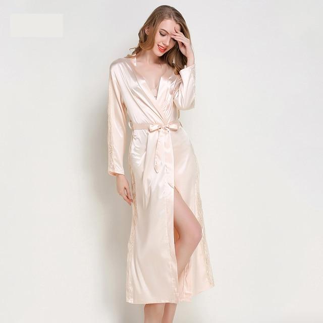 9ba951d63d Chiffon Robe Robes with Lace Femme Sexy Long Bathrobes Women Nightwear  Satin kimono Bridesmaid Faux Silk Home Clothing pink
