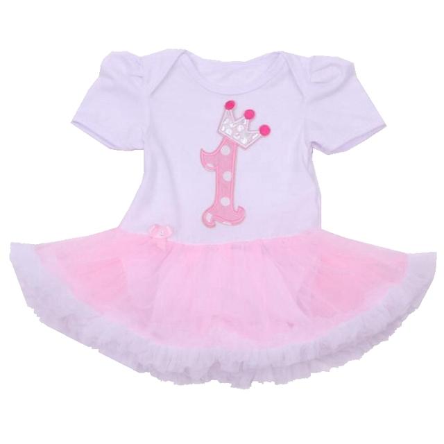 Corona Mameluco Del Bebé Vestido De Cumpleaños primero Bebe Mono Macacão Trajes Lace Tutus Muchachas de la Manga Corta Ropa de bebé Ropa Infantil