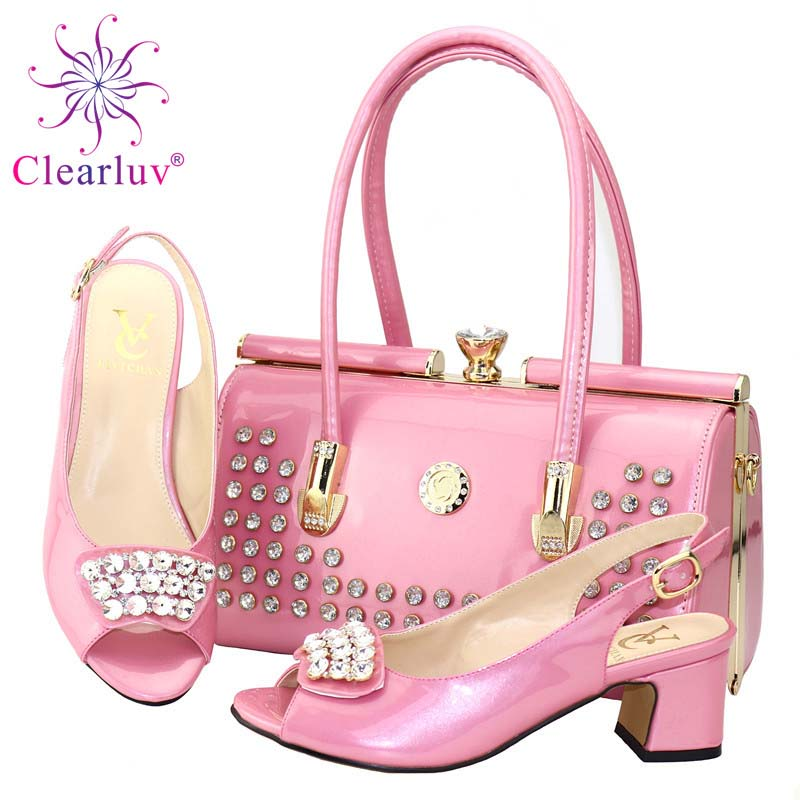 Italian Shoes And Bags To Match Shoes With Bag Decorated With Rhinestone Shoes And Bag Set African Sets 2019 Party Shoe And Bag