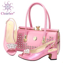 Italian Shoes and Bags To Match Shoes with Bag Decorated with Rhinestone Shoes and Bag Set African Sets 2019 Party Shoe and Bag cheap Clearluv Slingbacks Spike Heels Med (3cm-5cm) Fits true to size take your normal size Fashion Fretwork Wedding Summer Peep Toe