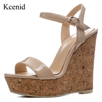 Kcenid 2018 New summer high heels sandals women wedges casual comfortable beige shoes open toe platform shoes plus size 34 41
