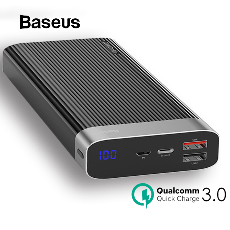 Baseus 20000 mAh Power Bank Für iPhone Huawei Power USB Typ C PD + Schnell Ladegerät 3,0 Schnelle Lade Externe batterie Pack